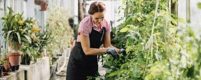 Eine Frau bei der Gartenarbeit