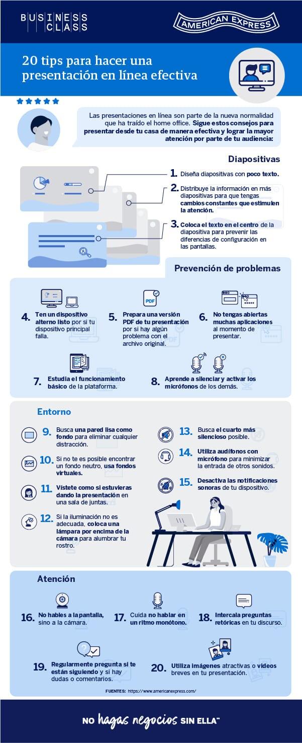 INFOGRAFÍA: 20 tips para hacer una presentación en línea efectiva