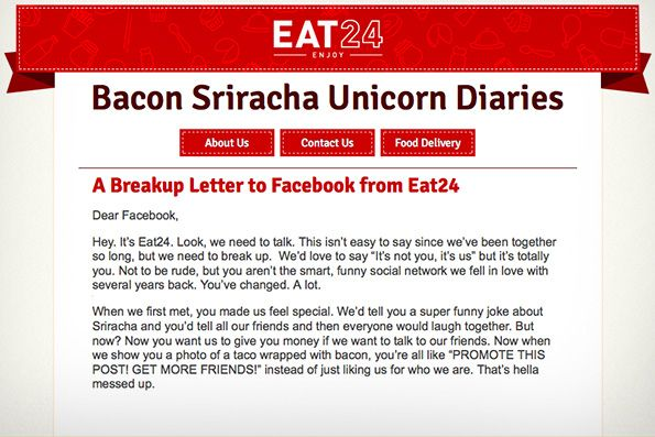 Eat24 It's over Facebook open letter