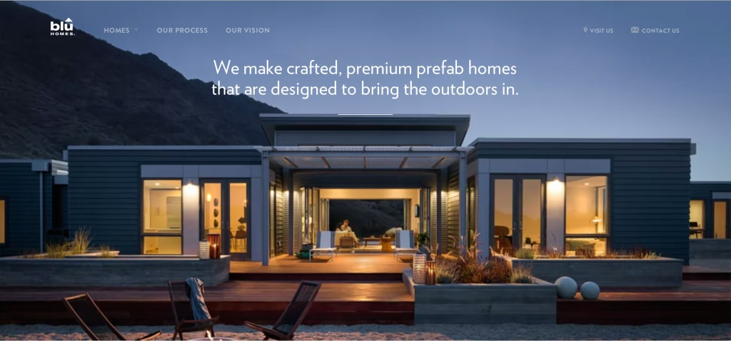 BluHomes home page