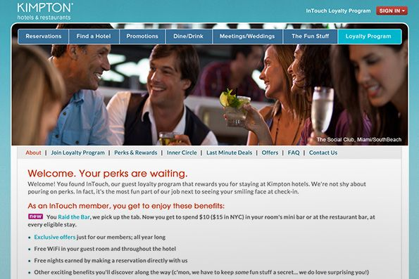 Kimpton Hotels offers personalized loyalty rewards