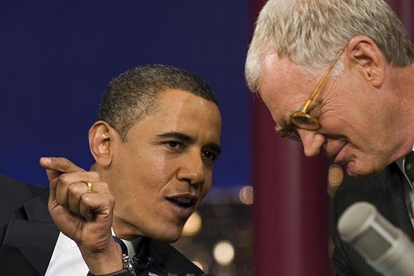 US President Barack Obama (L) jokes with  Appearing on the Late Show with David Letterman, in 2008, President Barack Obama read the famed Top Ten list.