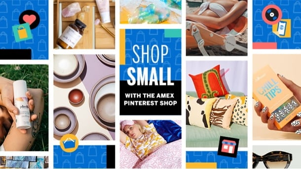 Collage of various products, icons and Pinterest logo
